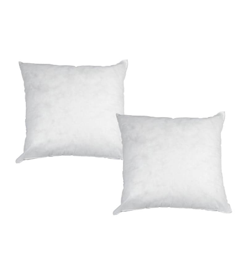 White Polyester 16 x 16 Inch Cushion Inserts - Set of 2 by R Home