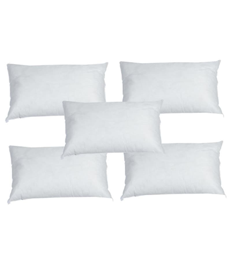 White Polyester 20 x 12 Inch Pillow Inserts - Set of 5 by R Home