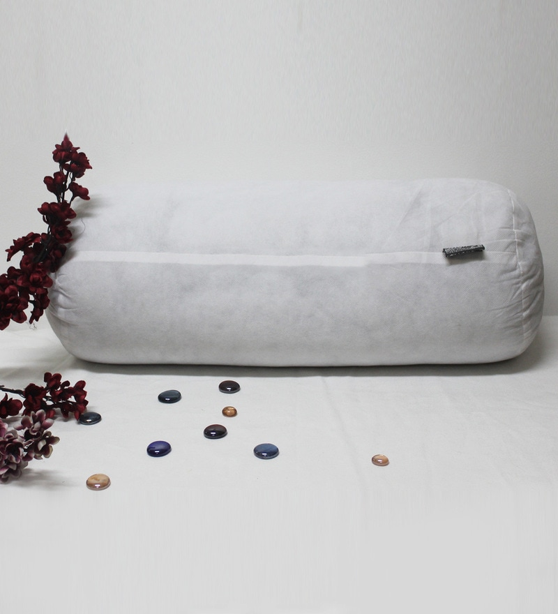 White Polyester 24 x 9 Inch Micro Fibre Silknise Bolster Filler by R Home