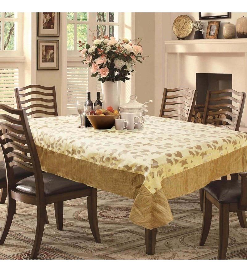 R Home Woven Brown Silk Table Cloth