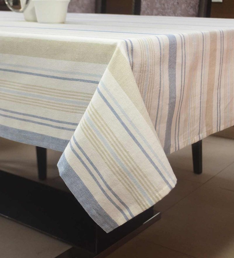 R Home Woven Stripe Multicolour Cotton Table Cloth
