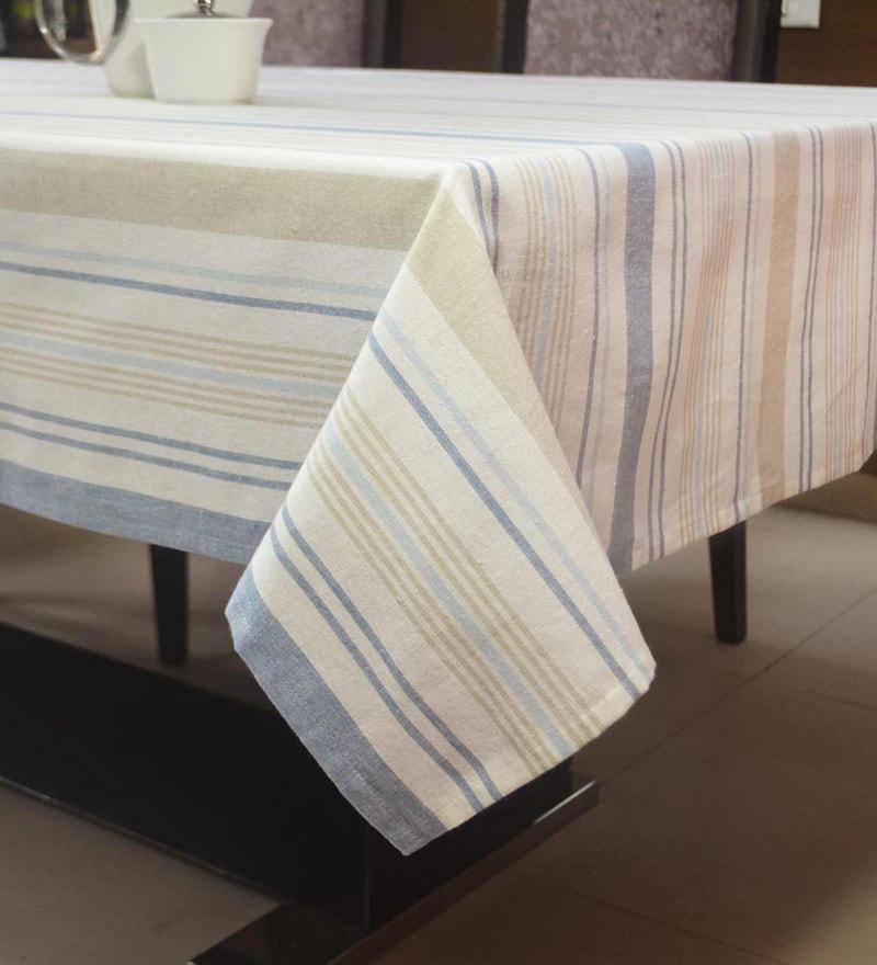 R Home Woven Stripe Multicolour Cotton Table Cloth