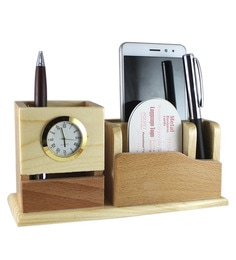 Radius Wood 4 Compartments Pen Stand With Clock