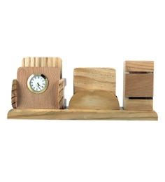 Creame Wood Pen Stand With Tea Coasters