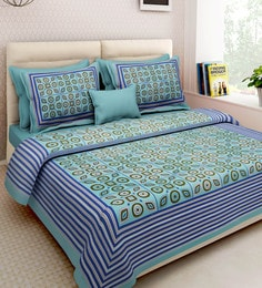Ethnic Motif 160TC Cotton King Size Bed Sheet With 2 Pillow Covers