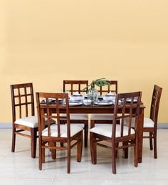 Raliegh Six Seater Dining Set In Honey Oak Finish