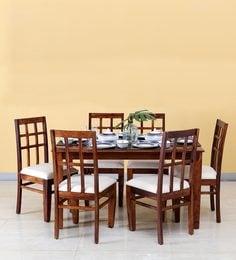 Raliegh Six Seater Dining Set In Honey Oak Finish