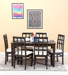 Raliegh Six Seater Dining Set In Warm Chestnut Finish