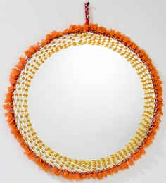 Ramona Hand Crafted Round Wall Mirror With Orange Beads & Fringes