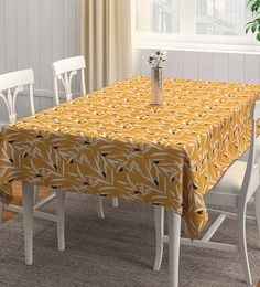 Rangrage Handcrafted Ocre Bequest Yellow & White Cotton Table Cloth
