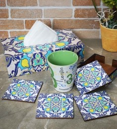 Rangrage Persian Delight Blue Mdf Tissue Box Cover With Coasters - Set Of 5