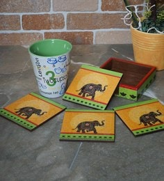 Rangrage Regal Elephant Orange Mdf Coasters With Stand - Set Of 5
