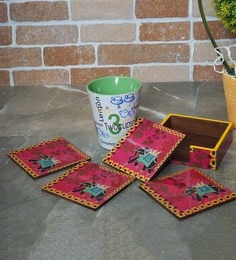 Rangrage Regal Elephant Red Mdf Coasters With Stand - Set Of 5