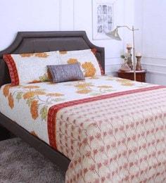 Raymond Home Brown 100% Cotton King Size Bedsheet - Set Of 3 - 1583121