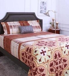 Raymond Home Brown 100% Cotton King Size Bedsheet - Set Of 3 - 1583144