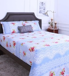 Raymond Home Lavender 100% Cotton King Size Bedsheet - Set Of 3