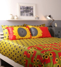 multicolour cotton king size bed sheet set of 5
