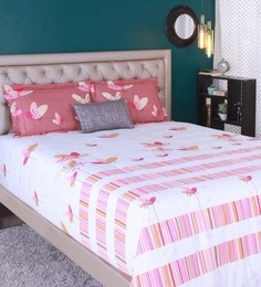 Raymond Home Orange 100% Cotton King Size Bedsheet - Set Of 3 - 1583158