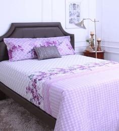 Raymond Home Purple 100% Cotton King Size Bedsheet - Set Of 3 - 1583163