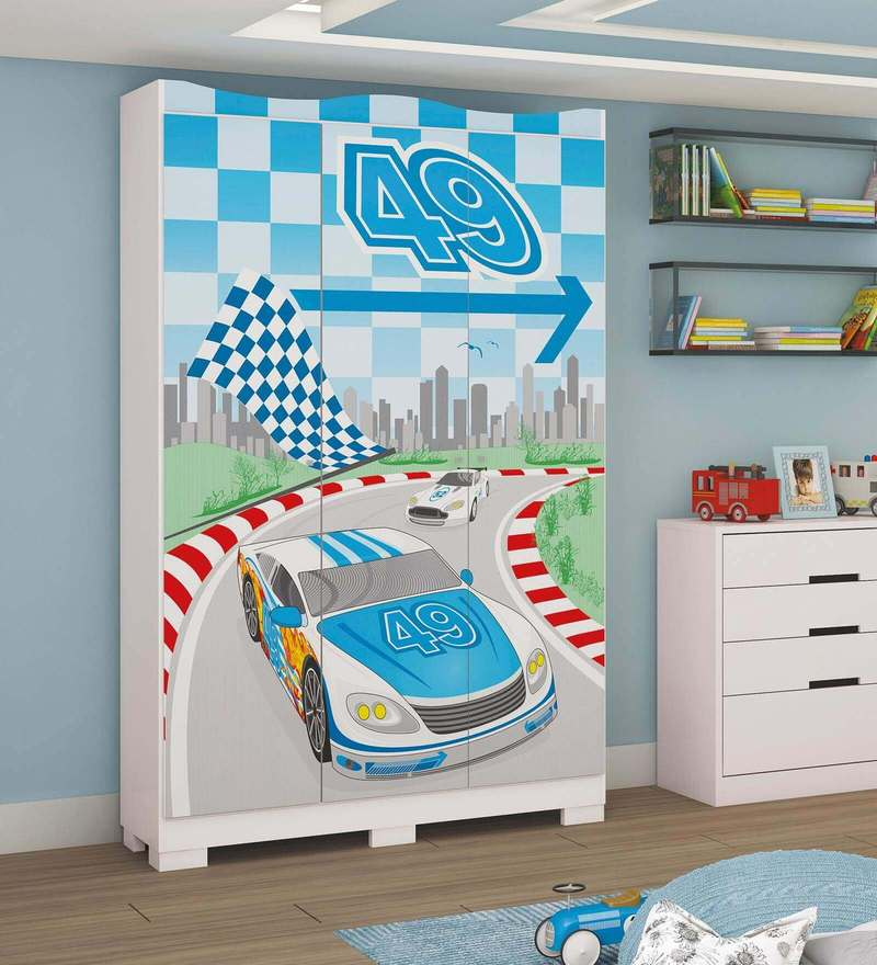 McLaren Race Track Three Door Wardrobe in Blue Colour by Mollycoddle