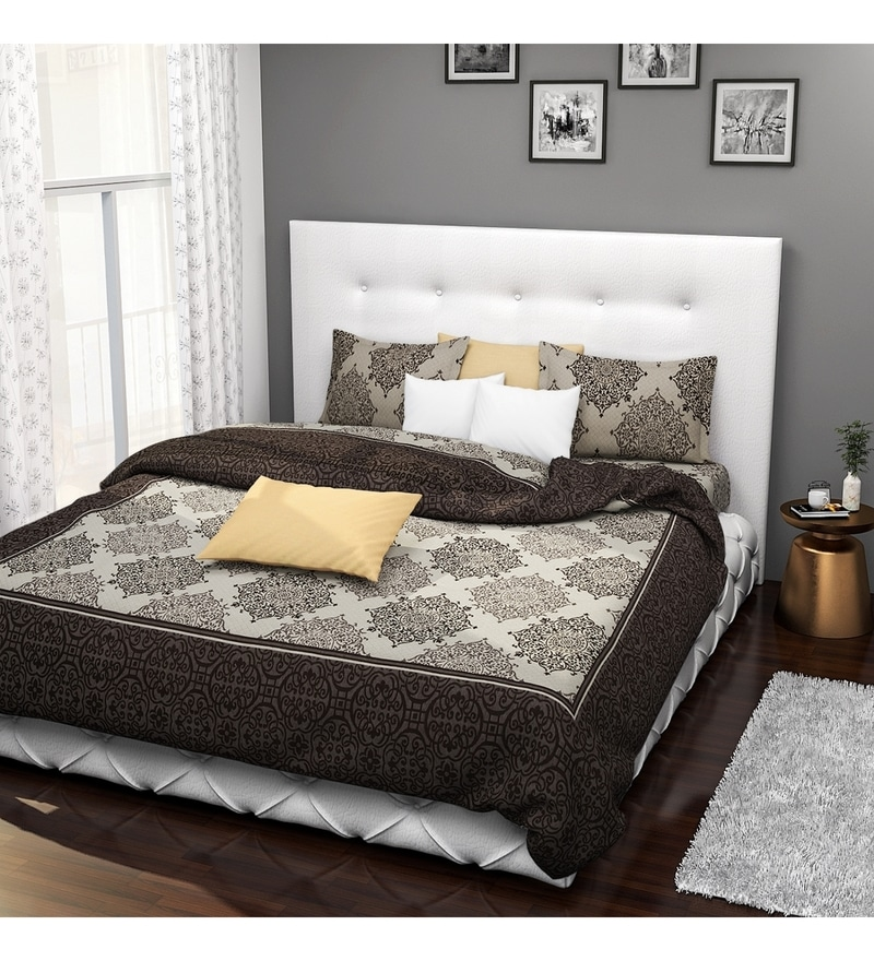 Brown Cotton Queen Size Bed Cover - Set of 3 by Rago