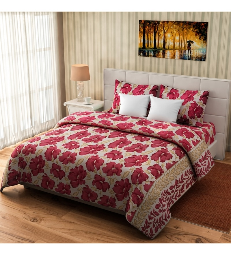 Red Cotton Queen Size Bed Cover - Set of 3 by Rago