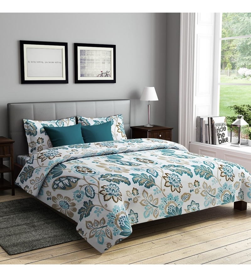 Turquoise Poly Cotton Queen Size Bedsheet - Set of 3 by Rago
