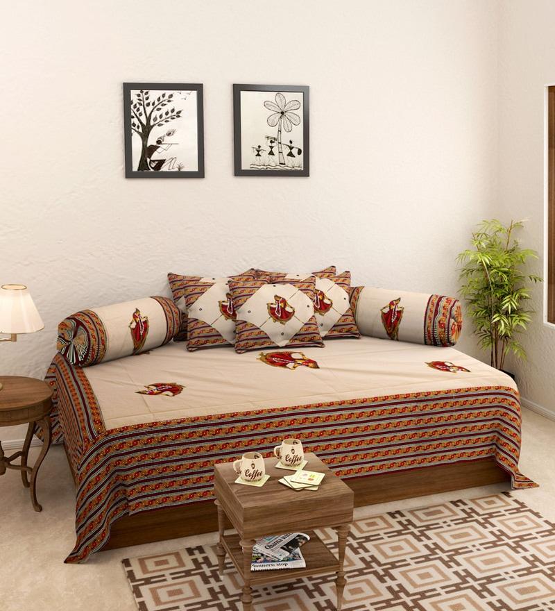 Beige Cotton Screen Print Diwan Set - Set of 8 by Rajasthan Decor