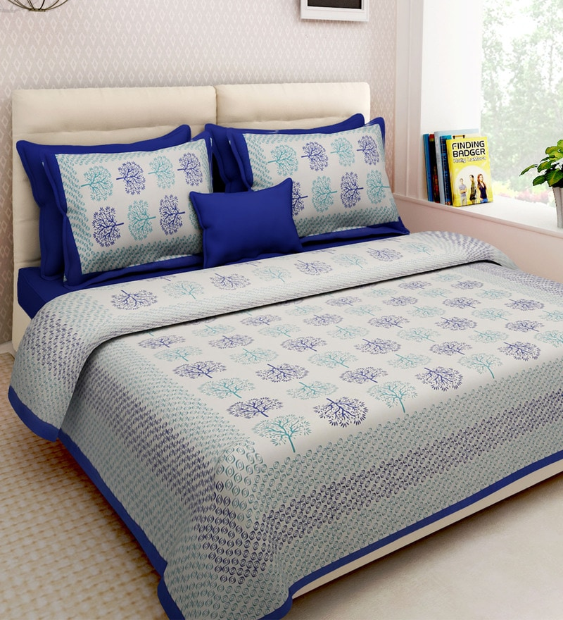 Multicolour Cotton King Size Bedsheet - Set of 3 by Rajasthan Decor