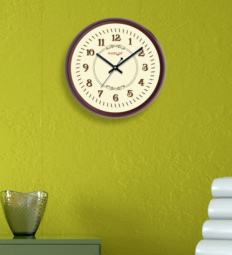 Random Brown Plastic 12 x 2 x 12 Inch Classy Wall Clock