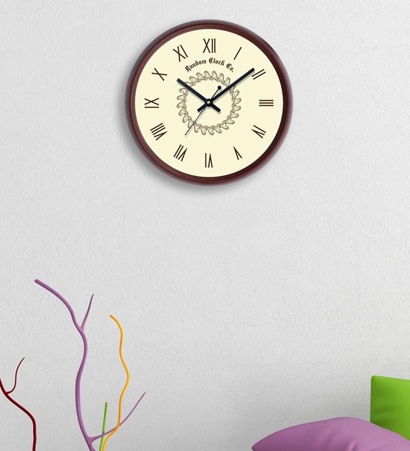 Random Brown Plastic 12 x 2 x 12 Inch Roman Beauty Wall Clock