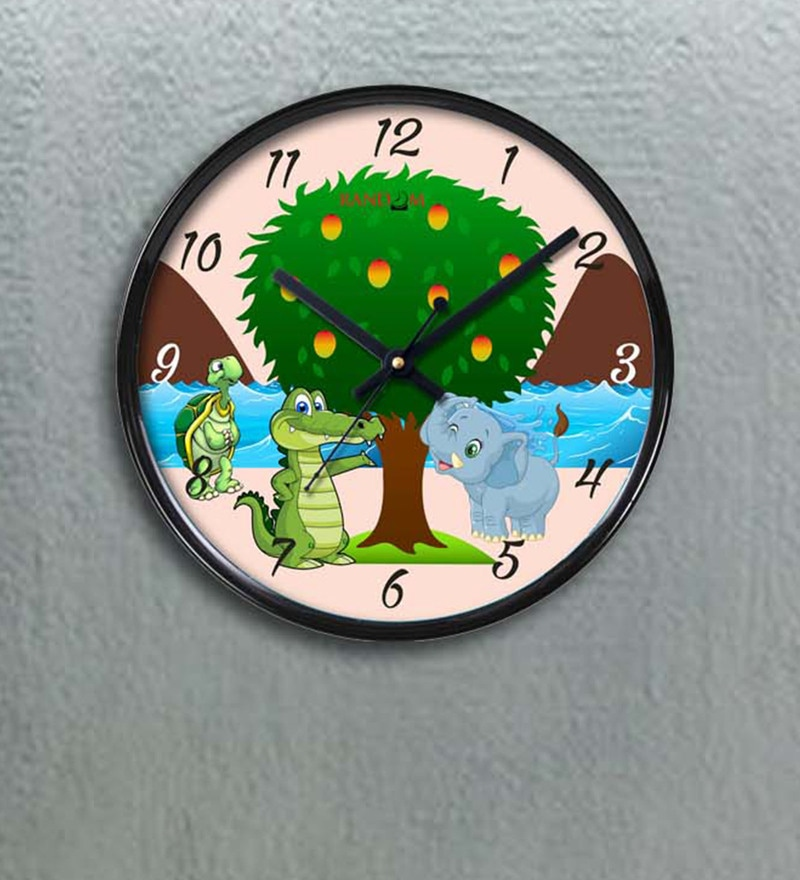 Multicolour Plastic 11 x 2 x 11 Inch Happy Friends Wall Clock by Random