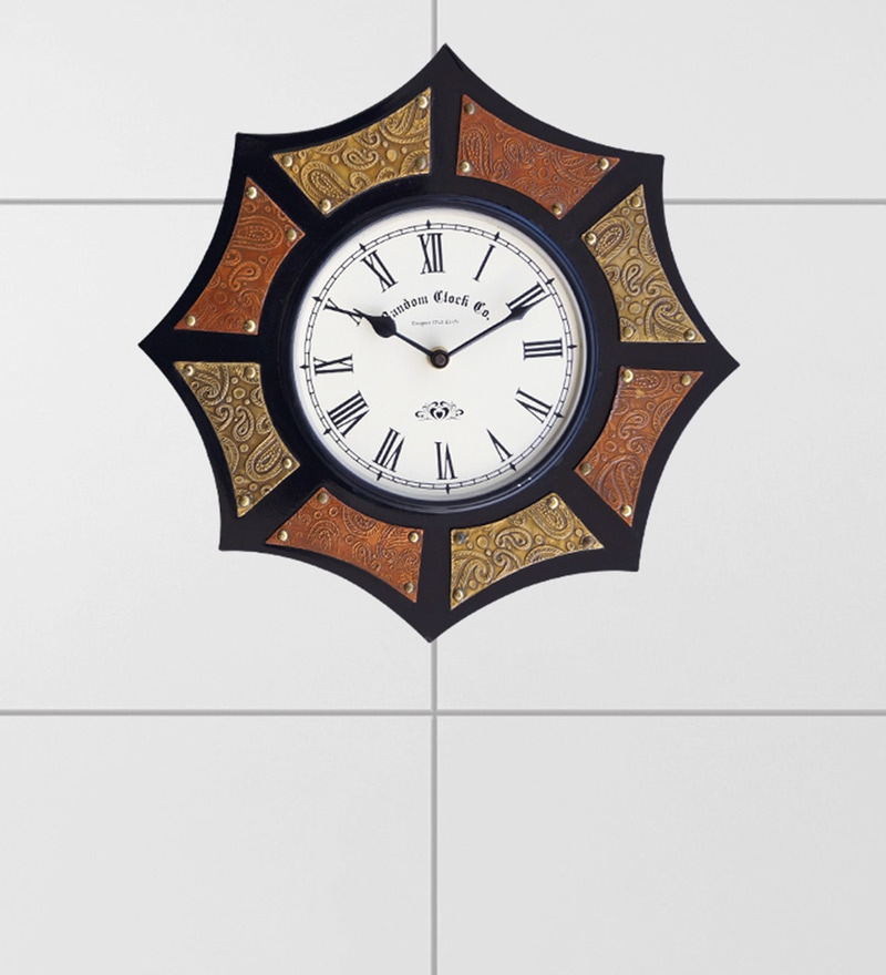 Multicolour Wooden 15 x 2.5 x 15 Inch Octagon Wall Clock by Random