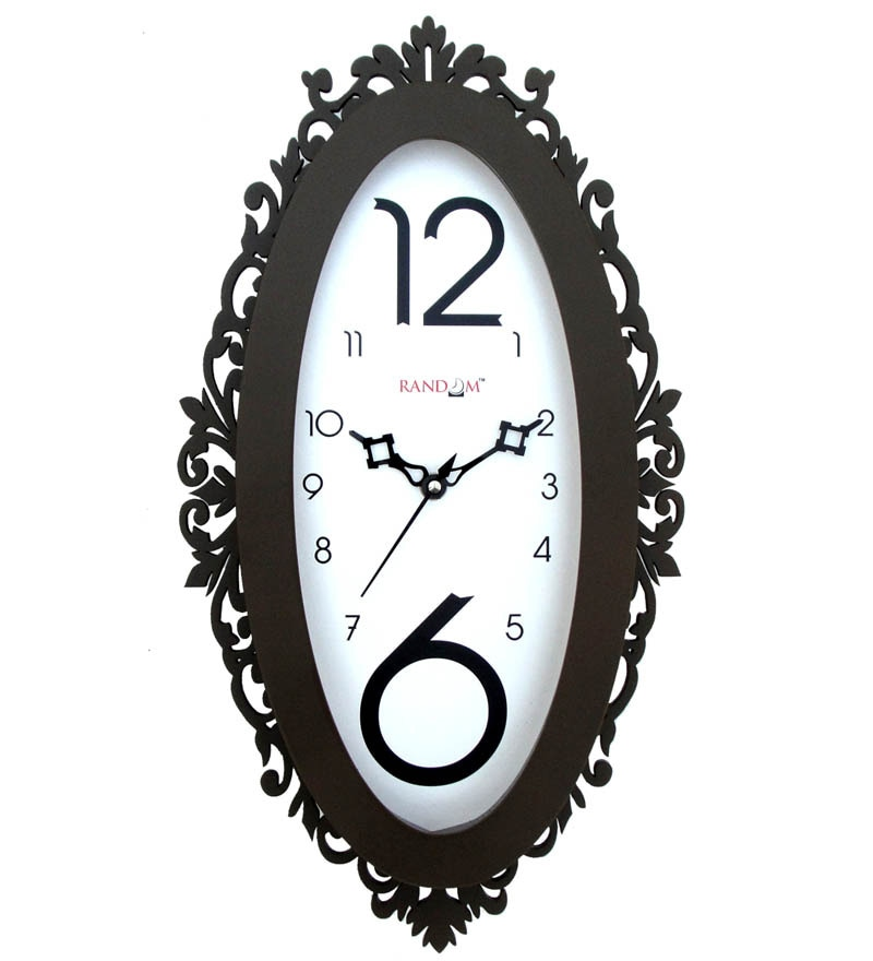 White & Brown Wooden Oval Decorative Border Wall Clock by Random