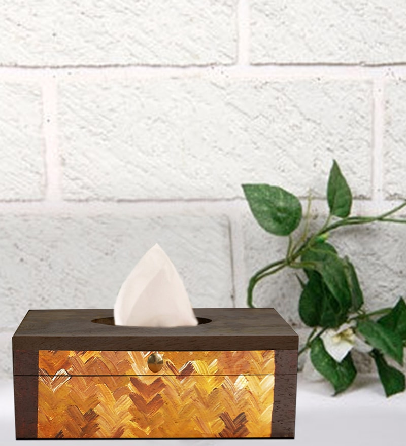 Rang Rage Earthy Brown Wooden Tissue Box