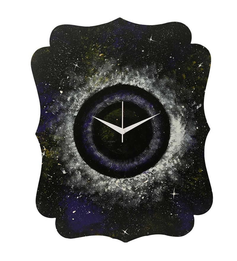 Rang Rage Black Wooden 15.95 x 12.2 Inch Secrets of Universe Wall Clock