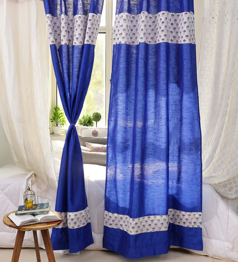 Blue Banglore Silk 84 x 44 Inch Handcrafted Door Curtain - Set of 2 by RangDesi
