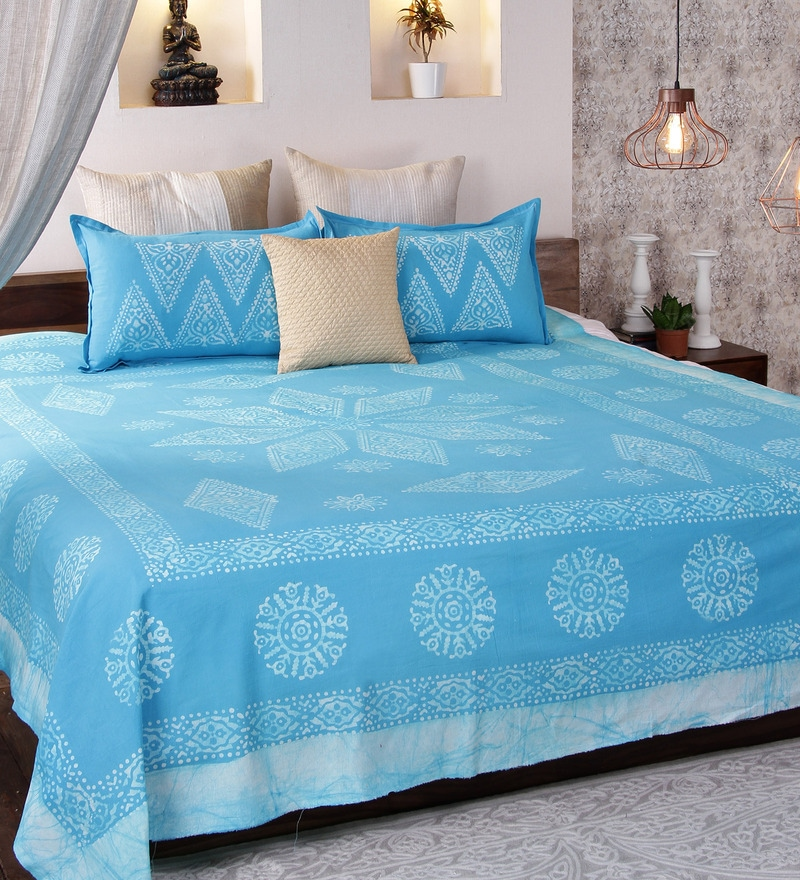 Blue Cotton Queen Size Bedsheet - Set of 3 by RangDesi
