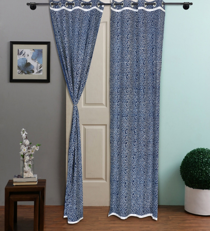 Indigo Cotton 108 x 48 Inch Organic Dye Hand-Block Printed Door Curtain - Set of 2 by RangDesi