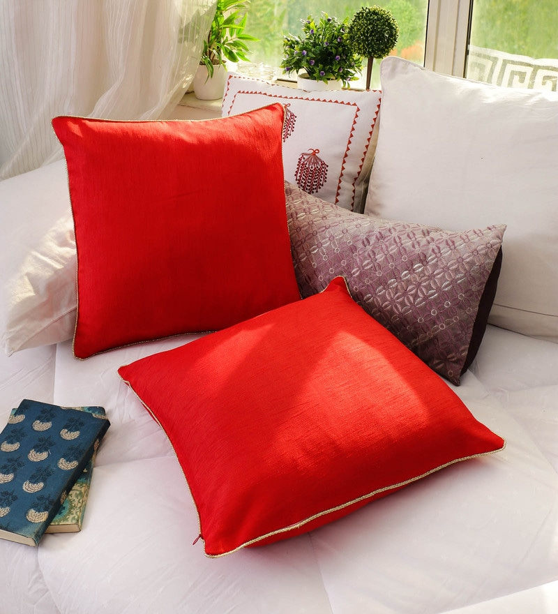 Red Banglore Silk 16 x 16 Inch Solid Cushion Cover - Set of 2 by RangDesi