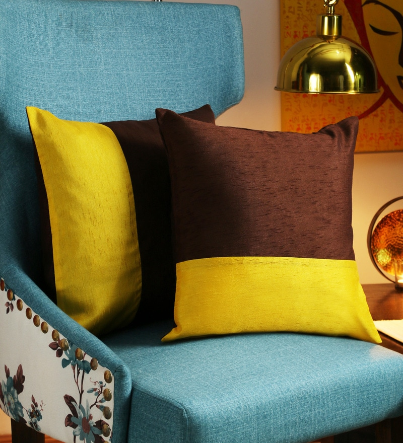 Yellow Art Silk 16 x 16 Inch Solid Cushion Cover - Set of 2 by RangDesi