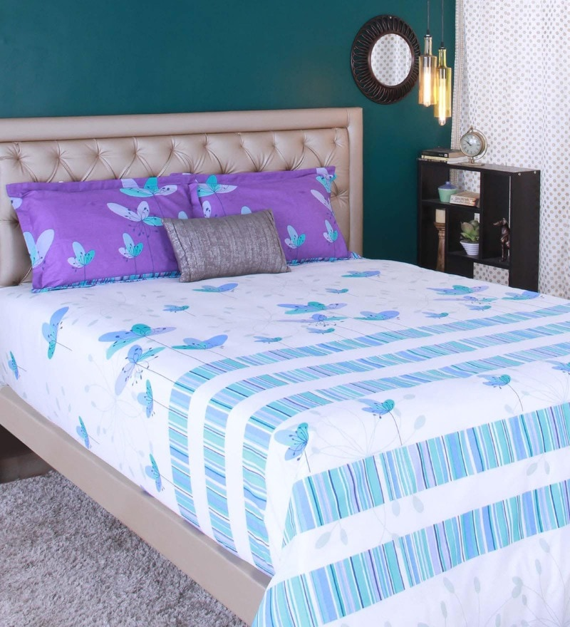 Blue 100% Cotton King Size Bedsheet - Set of 3 by Raymond Home