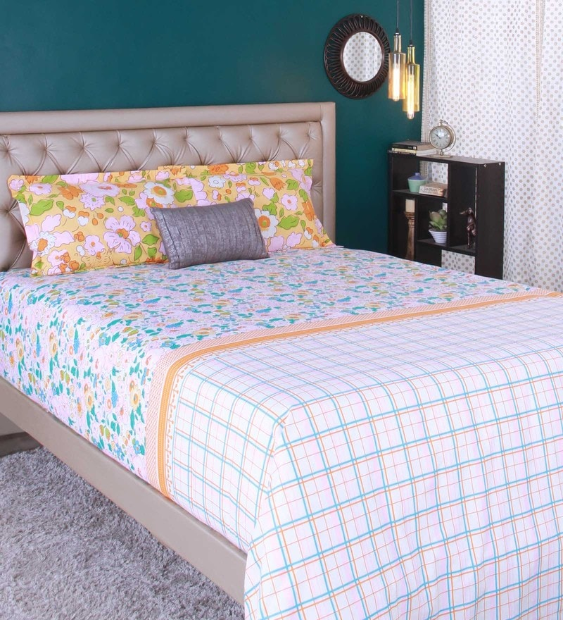 Light Pink 100% Cotton King Size Bedsheet - Set of 3 by Raymond Home