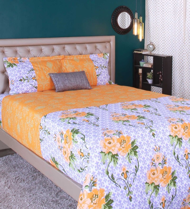 Orange 100% Cotton King Size Bedsheet - Set of 3 by Raymond Home