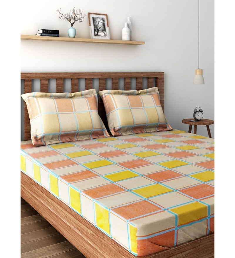 Orange 100% Cotton Queen Size Bedsheet - Set of 3 by Raymond Home