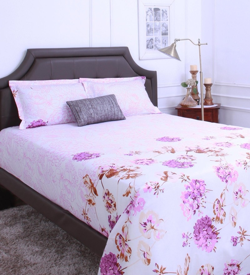 Purple 100% Cotton King Size Bedsheet - Set of 3 by Raymond Home
