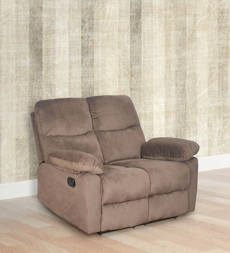 Rays Two Seater Recliner in Brown Colour by @Home