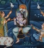 Silk & Paper 15 x 7 Inch Krishna Unframed Painting by Rajrang