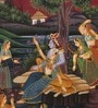 Silk & Paper 7 x 9 Inch Graceful Lord Krishna Unframed Painting by Rajrang