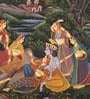 Silk & Paper 7 x 9 Inch Graceful Lord Radha Krishna Unframed Painting by Rajrang